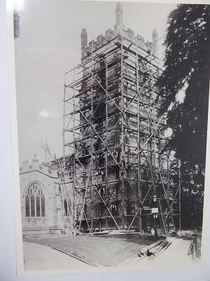 Tower with wooden scaffolding-
